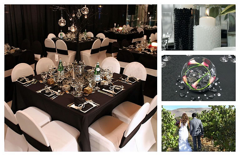 Wedding Tents for Rent - Black and White wedding theme tent.